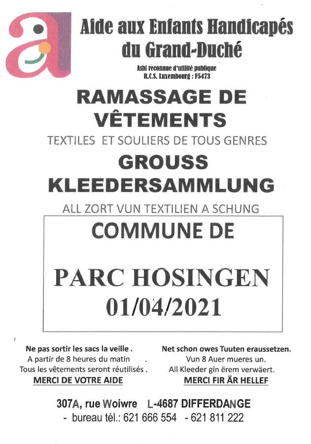 Ramassage de vêtements 01.04.2021