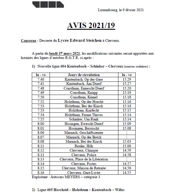 Avis RGTR – Lycée Edward Steichen Clervaux et Télégramme RGTR Wahlhausen An der Déckt