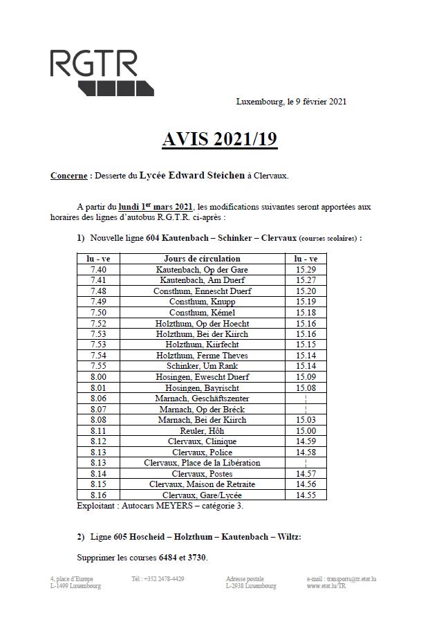Avis RGTR - Lycée Edward Steichen Clervaux et Télégramme RGTR Wahlhausen An der Déckt