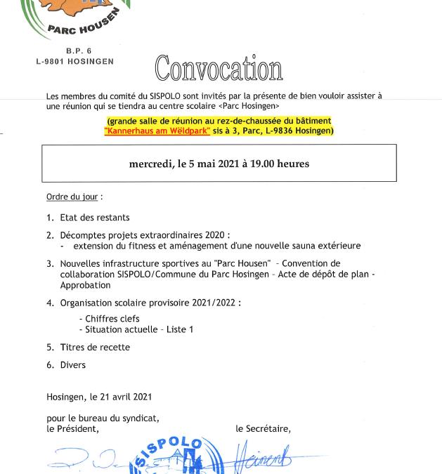 SISPOLO – Convocation Comité 05.05.2021