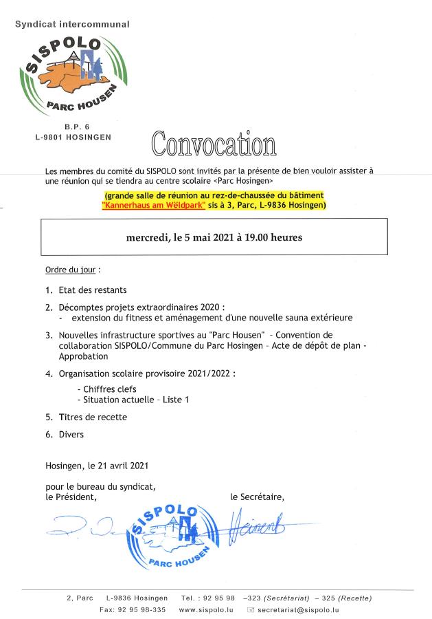 SISPOLO - Convocation Comité 05.05.2021