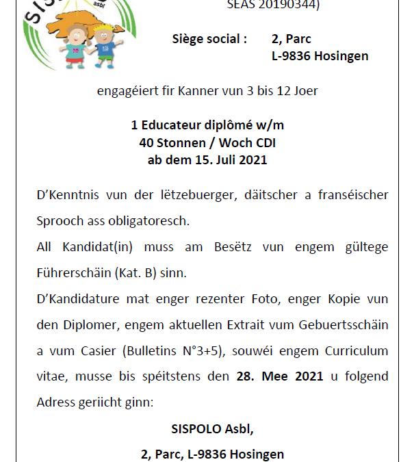 SISPOLO:Poste vacant – éducateur diplômé