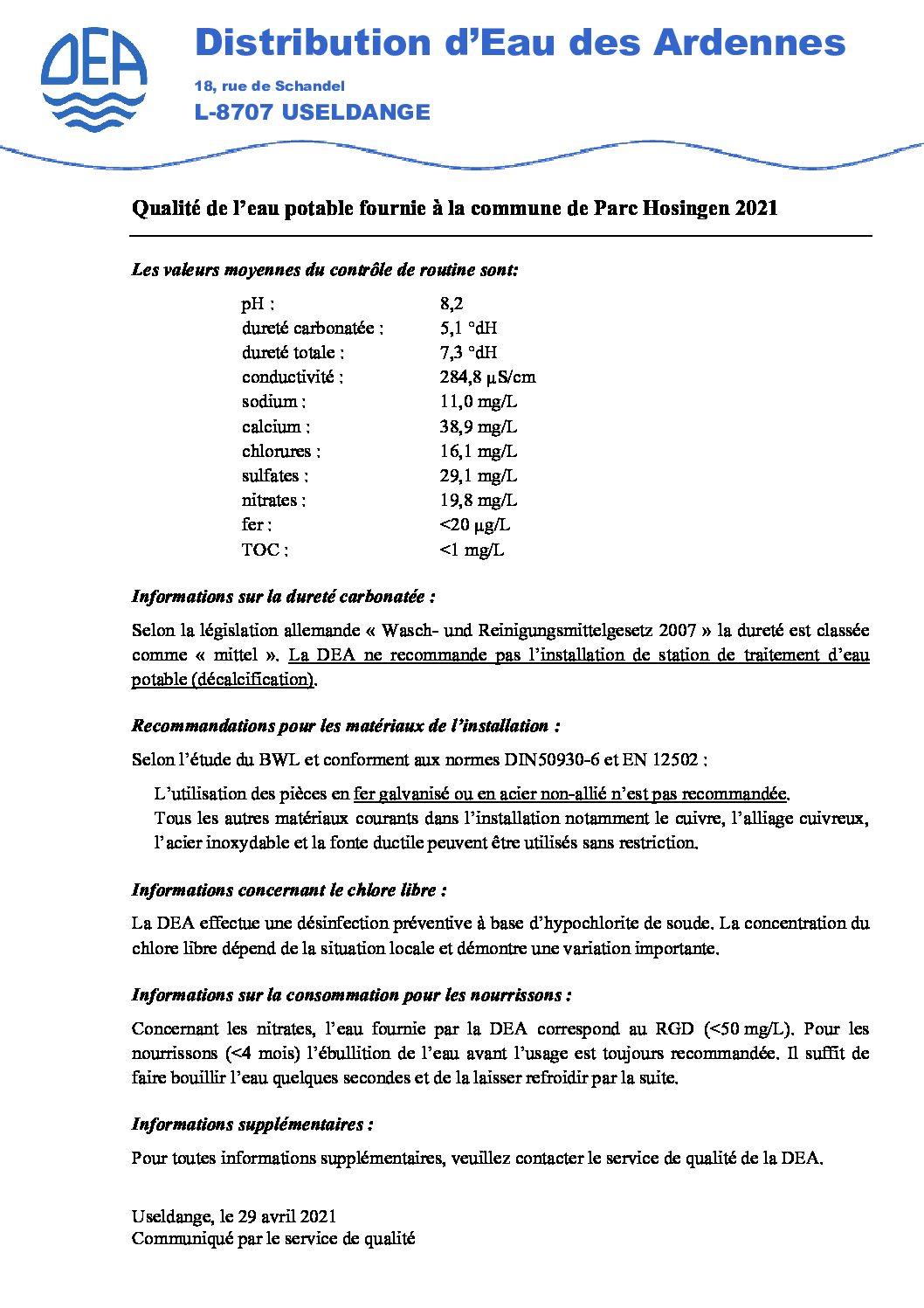 Qualité de l'eau potable fournie à la commune de Parc Hosingen 2021