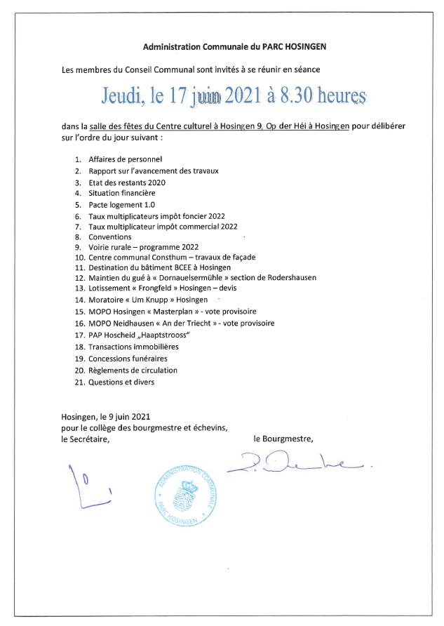 Ordre du jour - séance du conseil communal du 17.06.2021