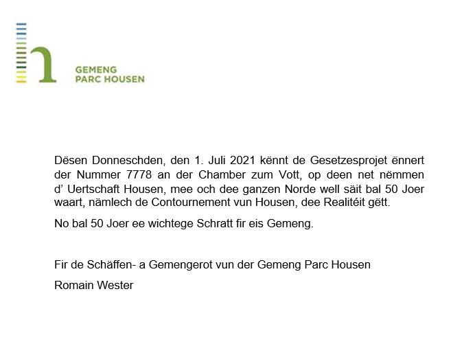 Projet de loi relative à la construction du contournement de Hosingen (E421/N7)