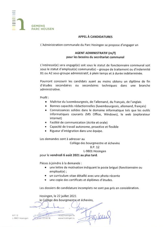 Appel à candidatures : Agent administratif (m/f) pour les besoins du secrétariat communal