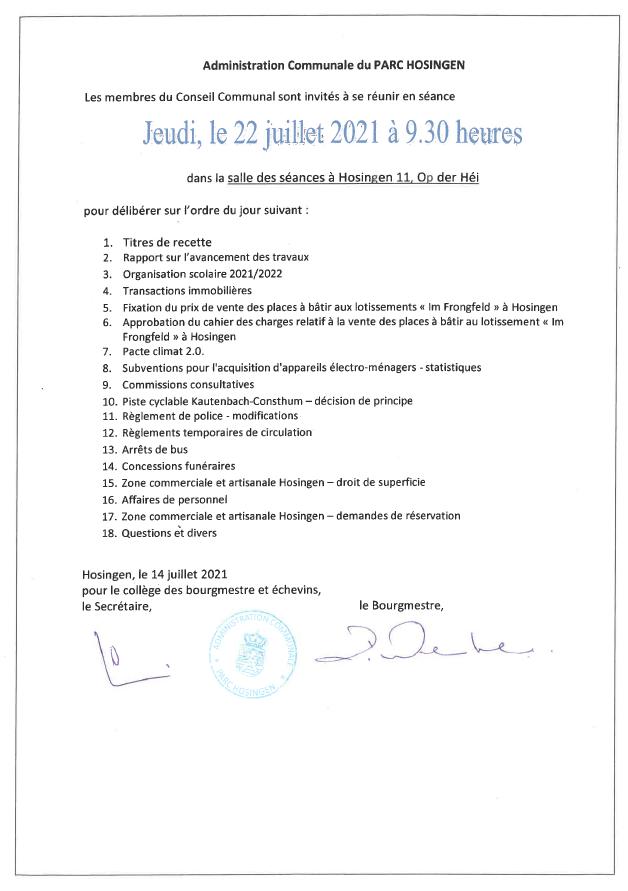 Séance du conseil communal 22.07.2021 - Ordre du jour