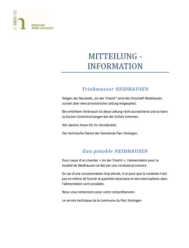 Information- eau potable à Neidhausen