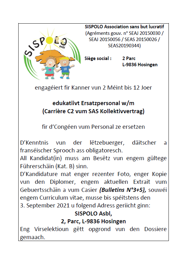 Annonce SISPOLO - Ersatzpersonal gesicht