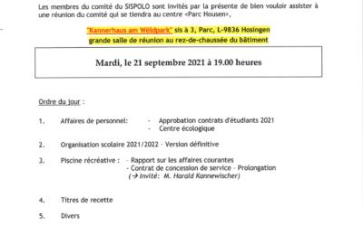 Convocation Comité SISPOLO 21.09.2021