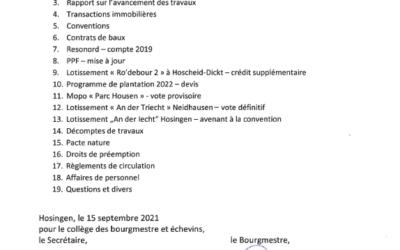 Conseil Communal 23.09.2021 – Ordre du jour