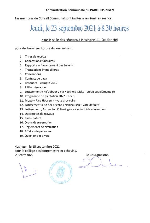 Conseil Communal 23.09.2021 - Ordre du jour