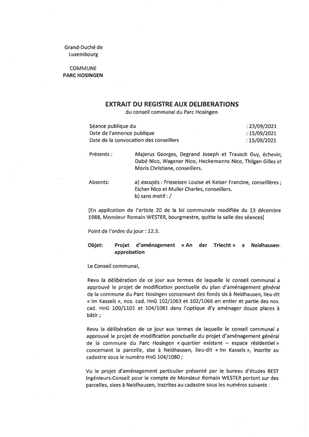 PAP An der Triecht Neidhausen - Avis au public & délibération du conseil communal