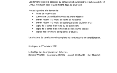 Vacance de poste : Gestionnaire (m/f) à plein temps – groupe de traitement A2 – sous groupe administratif